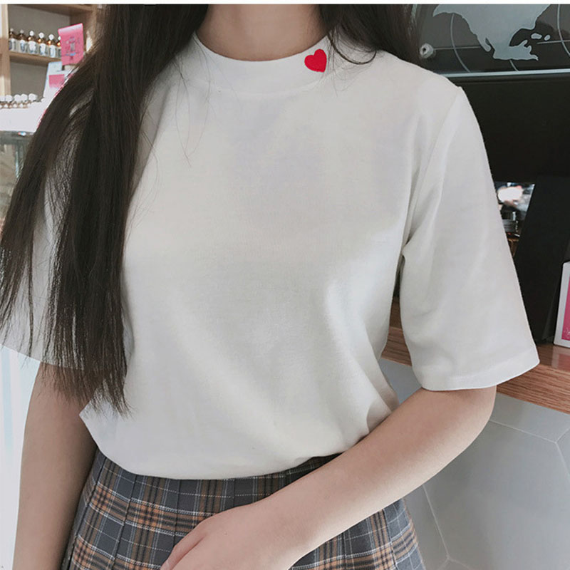 Hot Sale Ulzzang Harajuku Sweet Heart Embroidery T Shirt Tops Women