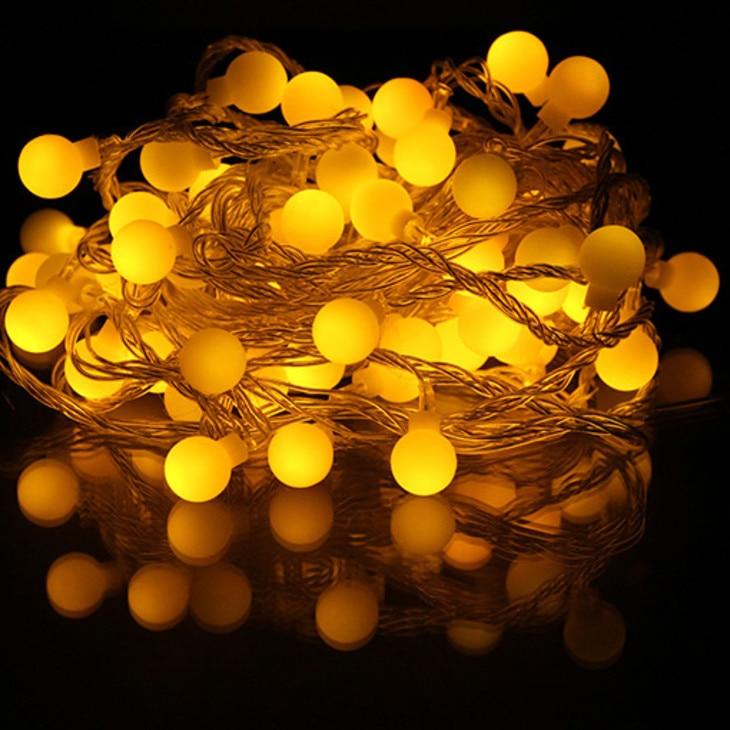 10 M 100 leds LED Cotton Ball Battery String Light Holiday Wedding Christmas Party Decor