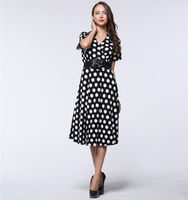 2017 Vintage Women Summer Retro Dress 50s Polka Dot Dress A Line V Neck Short Sleeve