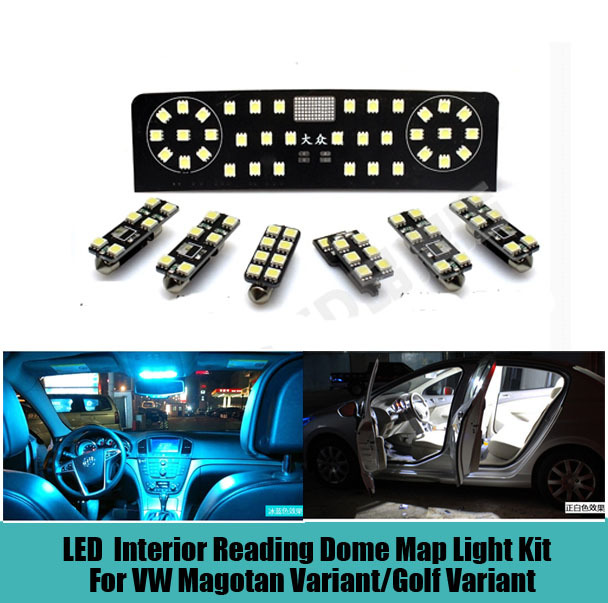 7 pcs Car LED Interior reading dome map Light Kit Glove box,Trunk,Visor Light for Volkswagen VW Magotan Variant/Golf Variant car rear trunk security shield cargo cover for volkswagen vw tiguan 2016 2017 2018 high qualit black beige auto accessories