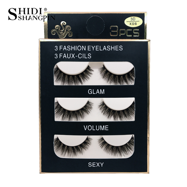 SHIDISHANGPIN 3d mink eyelashes hand made makeup false eyelashes natural long eyelash extension 1 box 3 pairs eyelash X08 4