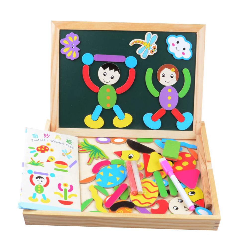 New Educational Toy Multifunctional Drawing Writing Board Magnetic Block Toy Double Easel Toy for Boys and Girls