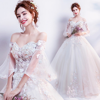 Fairy Air Petal Air Horn Sleeve Fashionable Bride's Wedding Dress 2019 Beautiful Beading Embroidery Elegant Lace Wedding Dress