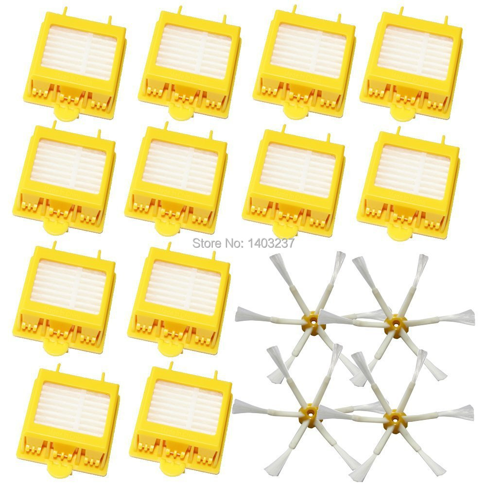 4pcs 6-Armed Side Brushes+12 pcs HEPA Filters for iRobot Roomba 700 Series 760 770 780 790 Vacuum Cleaning Robotic Accessory bristle brush flexible beater brush fit for irobot roomba 500 600 700 series 550 650 660 760 770 780 790 vacuum cleaner parts