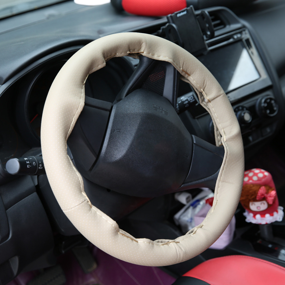 Drop Shipping DIY Texture Soft Auto Car Steering Wheel Cover With Needles And Thread Artificial Leather Car Covers Suite 3 Color
