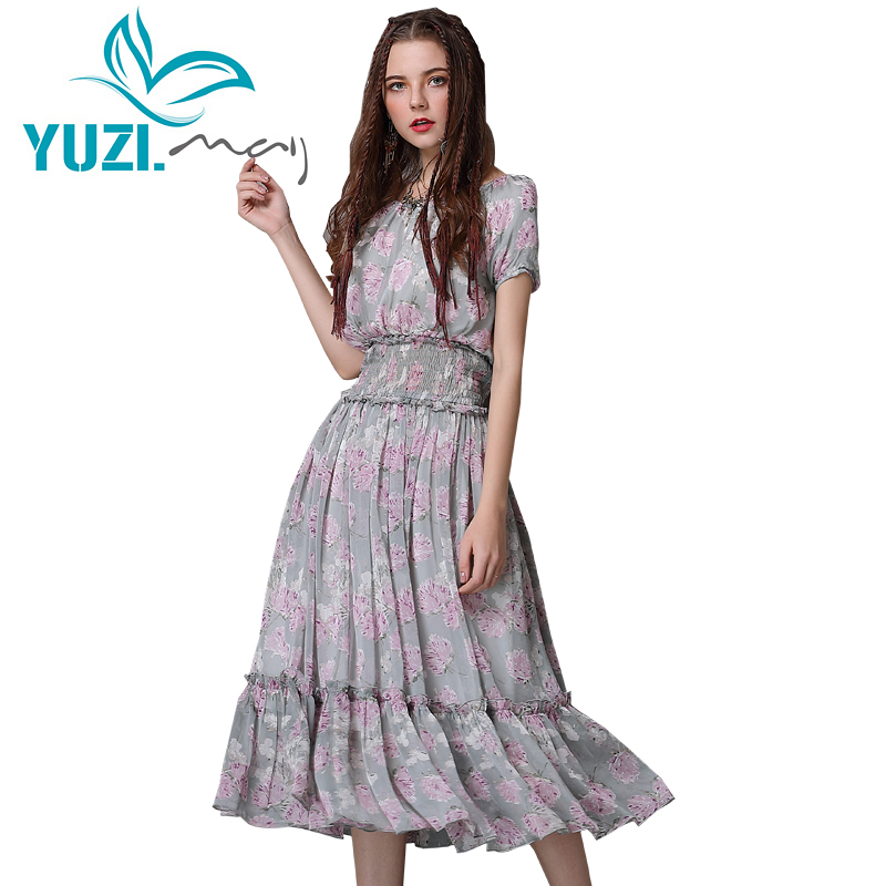 Summer Dress 2018 Yuzi may Boho New Chiffon Dresses O Neck Short Sleeve Swing Hem Floral