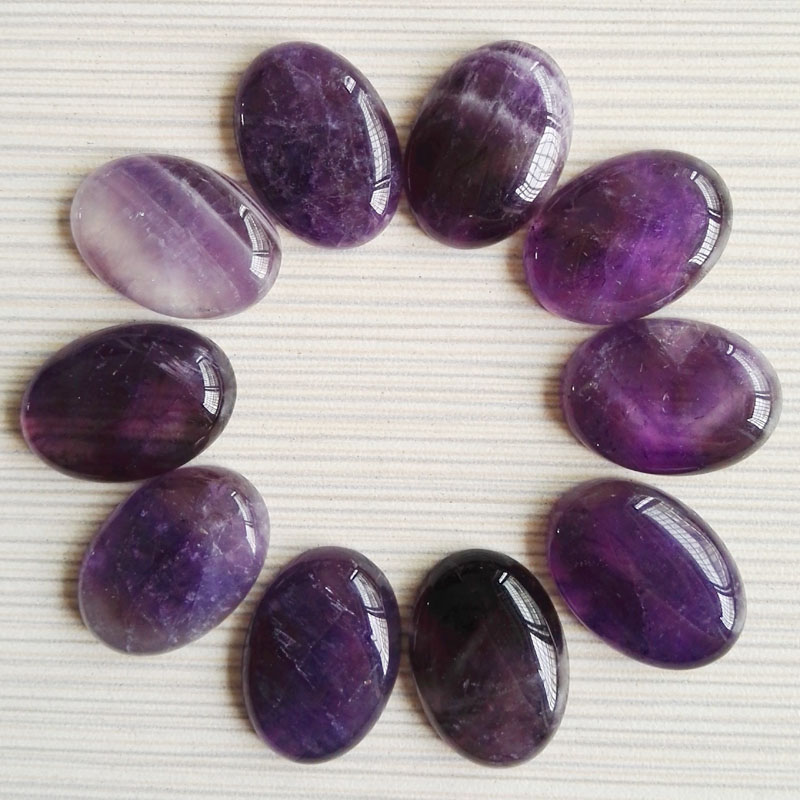 Purple crystal natural stone beads for jewelry making 25X18MM cab cabochon charms Jewelry bead 12Pcs/lot Free shipping wholesale