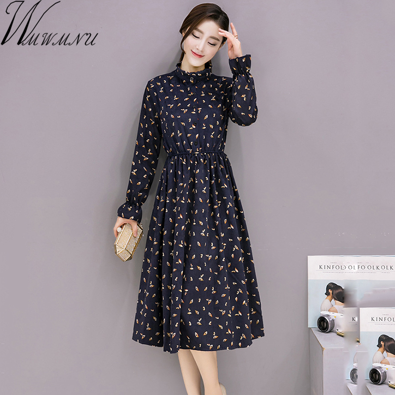 Women's Clothing Korean Fashion Sweet Floral Print Dress 2019 New Spring Autumn Women Long Sleeved Slim Waist Split Long Chiffon Dresses S-xl 50% OFF