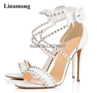 Linamong Brand Style One Strap Rivet Thin Heel Gladiator Sandals Strap Cross Ankle Buckle White High Heel Sandals Dress Shoes