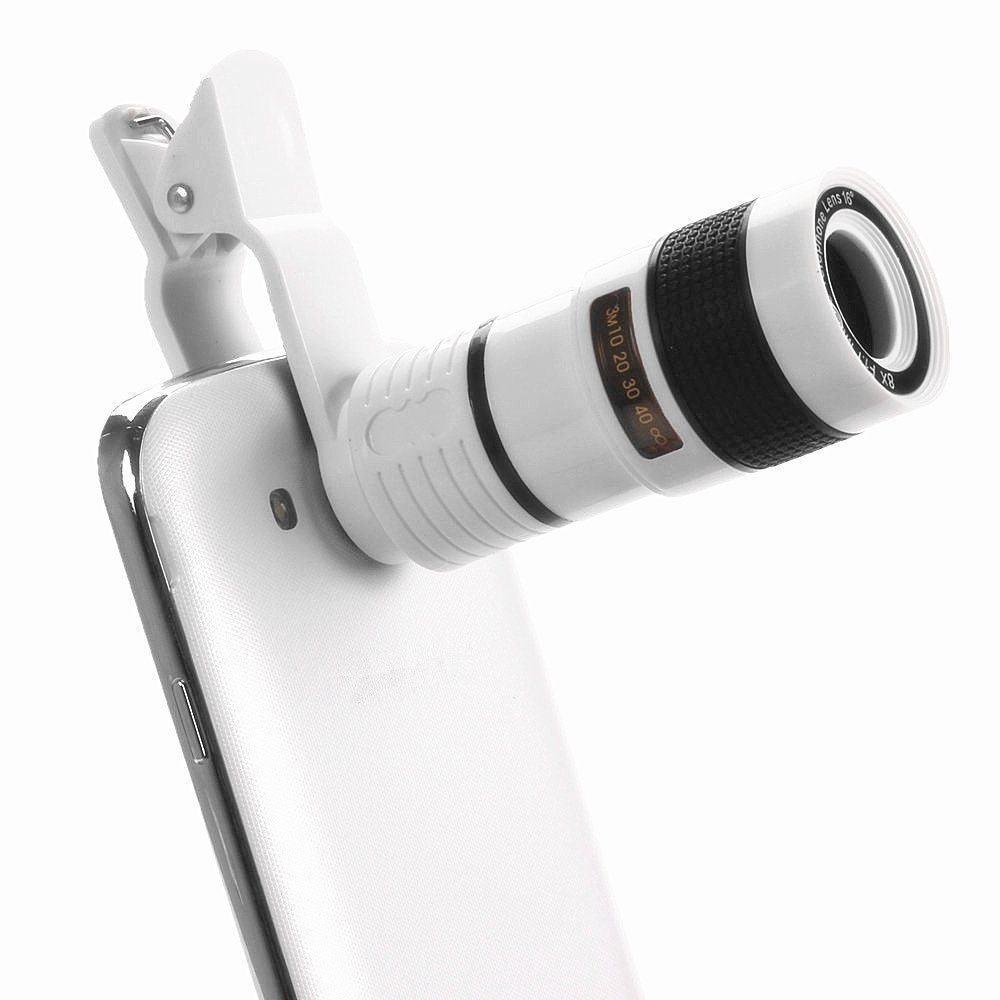 Universal Cell Phone Telescope Telephoto Camera Lens 8X Zoom Manual Focus Clip-on Camera Lens for iPhone7 plus Samsung Galaxy S8 mobile phone