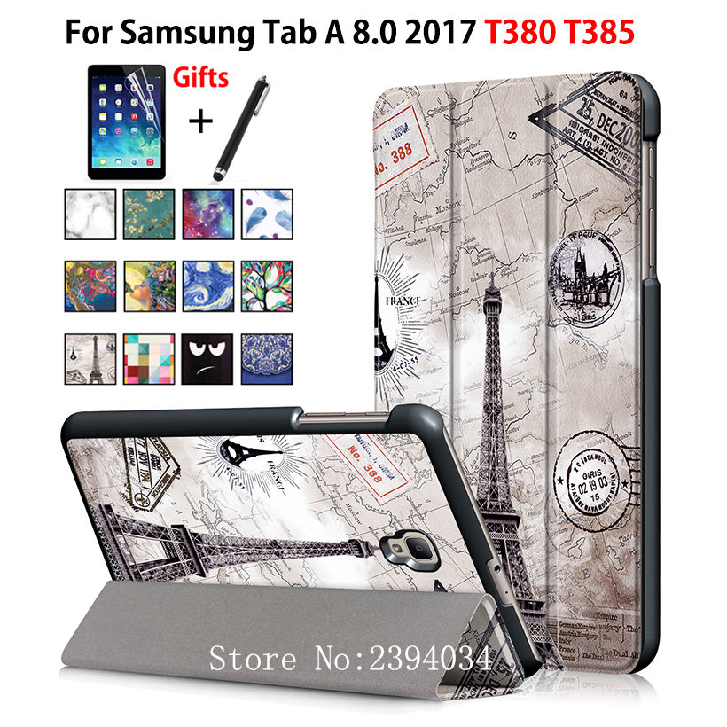 Case for Samsung Galaxy Tab A 8.0 T380 T385 2017 8.0 inch Cover Funda Tablet  PU Leather Folding Flip Stand Shell +Film+Pen flip cover for samsung galaxy tab a 7 0 t280 t285 7 inch pu leather case protective stand cover funda