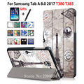 Case for Samsung Galaxy Tab A 8.0 T380 T385 2017 8.0 inch Cover Funda Tablet PU Leather Folding Flip Stand Shell +Film+Pen