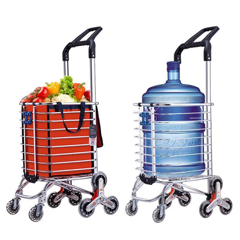 ALUS Shopping Cart Folding Portable Trolley Mini Aluminum Trolley Luggage Cart Small Household Car Pull Cart Hand Truck Color : with Bag