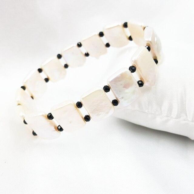 Natural Black Spinels,Baroque Pearl Elastic Bracelet