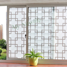 Brown Lattice Frosted Opaque balcony Window Film sticker Waterproof self-adhesive Privacy Glass Sticker for Home Decor 60*500cm