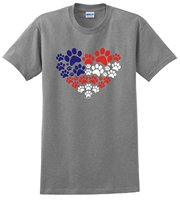 Animal Lover Kiyyen Dog Paw Prints Heart USA Flag T Shirt Round Neck Animal Female T