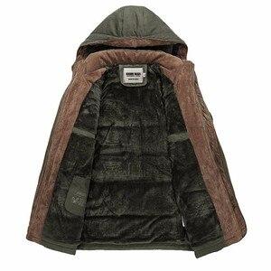 Image 3 - KOSMO MASA Green Thick Long Jacket Men Parka Coats 2018 Winter Jackets Mens Cotton Hooded Casual Warm Down Parkas 6XL MP032