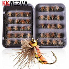 KKWEZVA 40pcs/lot Trout Nymph Insect Fishing fly Lure Fishing Tackle Colors Fly Fishing Flies with Box Carp Artificial Fish Bait