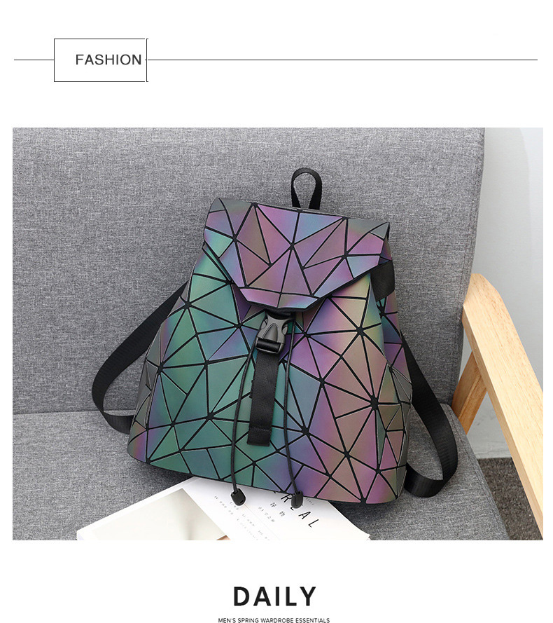 HTB1m534VSzqK1RjSZPcq6zTepXag Women Backpack Luminous Geometric Plaid Sequin Female Backpacks For Teenage Girls Bagpack Drawstring Bag Holographic Backpack