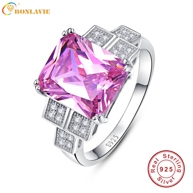 BONLAVIE 2017 Luxury Wedding Band 925 Silver Jewelry Pink Topaz And Engagement Square Rings Size