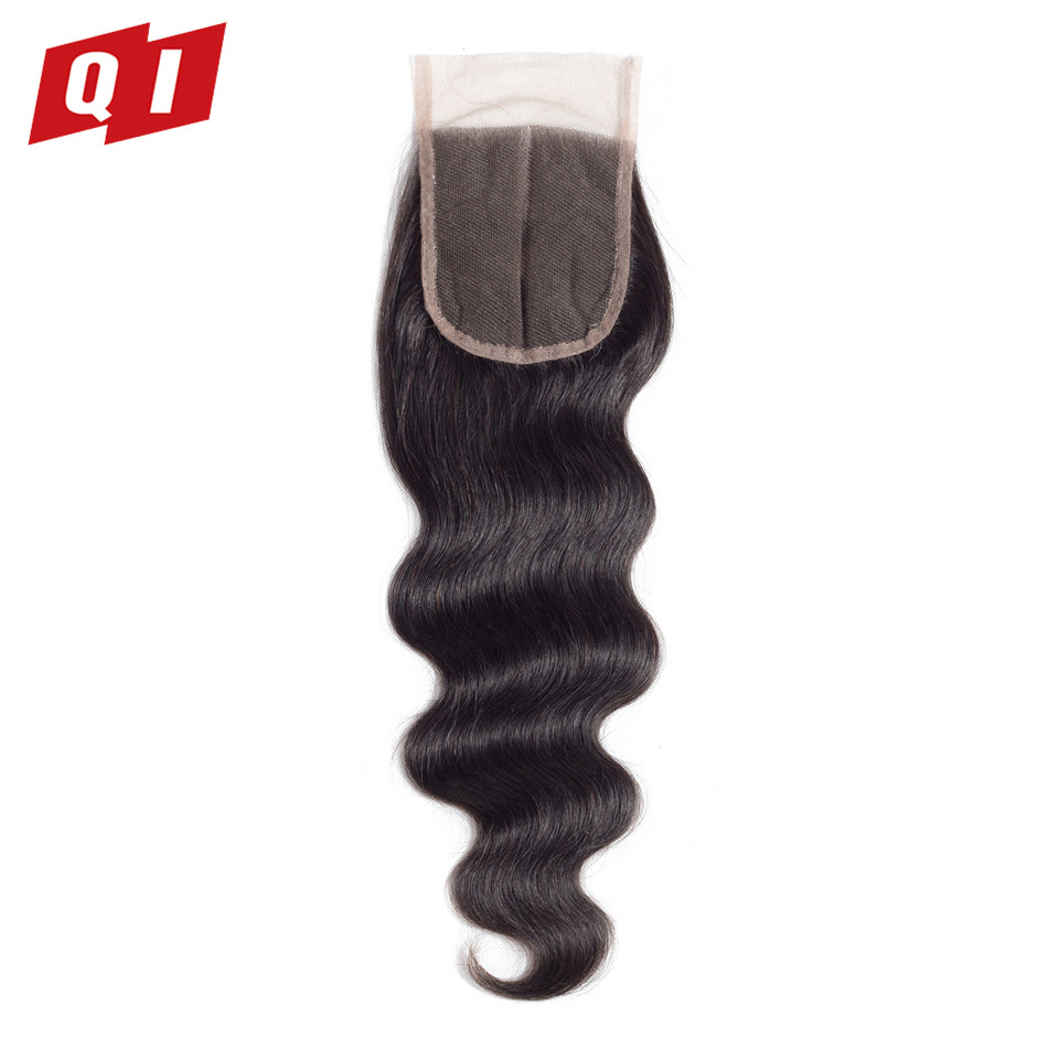 QI Hair 100% Brazilian Human Hair Body Wave 4*4 Lace Closure 8-20Closures Natural Color 100% Non Remy Human Hair