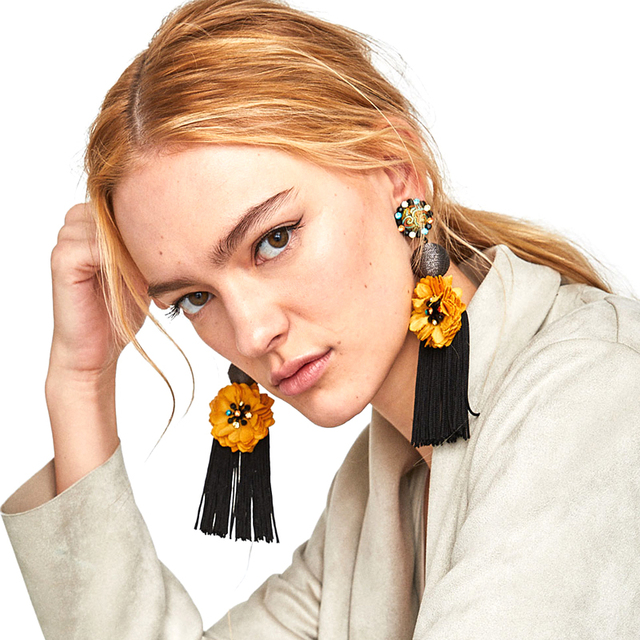 Ethnic Long Tassel Earrings-Bohemian Flower Statement