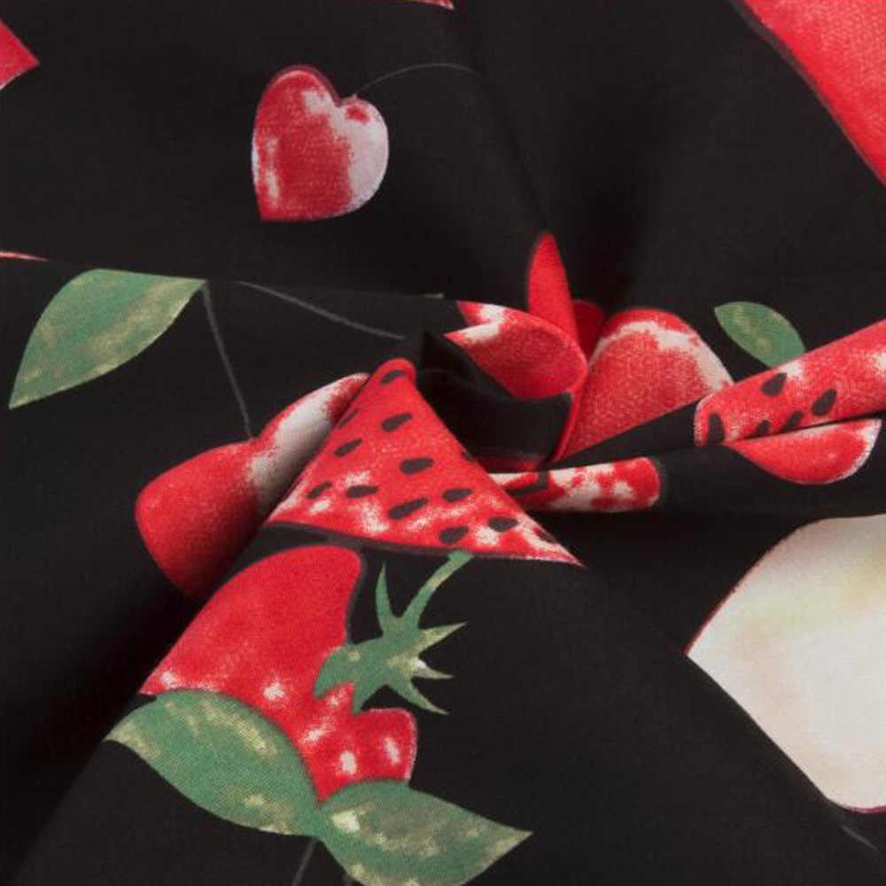 2019 Летняя мода 50 s Pinup винтажное рокабилли платье плюс размер ретро милые платья с фруктовым принтом женские вечерние офисные платья трапециевидной формы