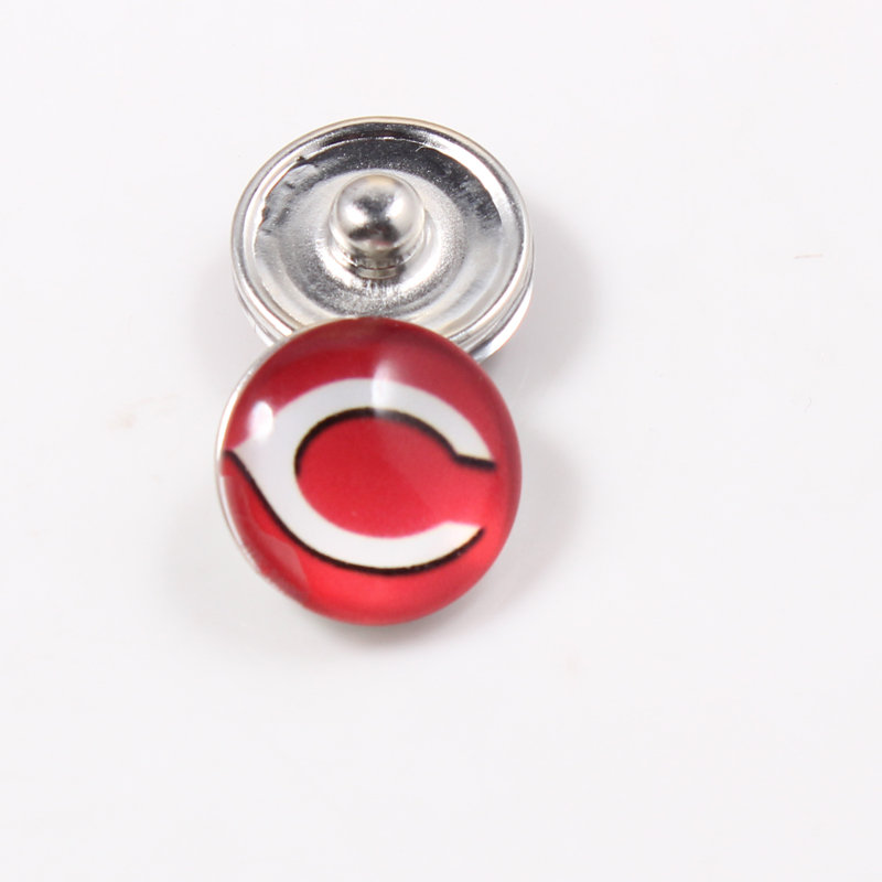 Cincinnati Reds 18mm Glass Snap Buttons MLB Baseball Fans Jewelry Fit Ginger Snap Bracelet 2 Styles For Choose 10pcs
