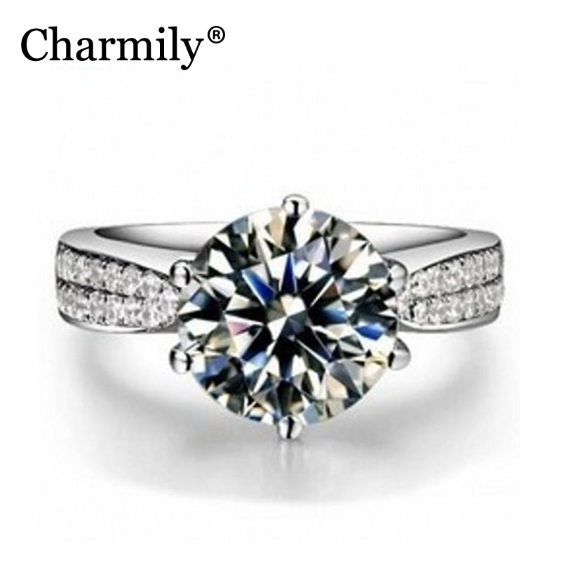 Charmily Authentic 925 Sterling Silver Round Clear CZ Rings For Women For Wedding Party Holiday Anniversary