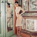 2017 весна новое прибытие высокого качества обнаженная сетки белый жемчуг с длинным рукавом see through женщин бисером платье Знаменитости взлетно-посадочной полосы платье