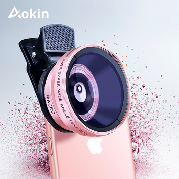 Aokin Camera Lens Kit 0.45X Super Wide Angle Lens with 12.5X Macro Lens For iPhone 6 6S Samsung Galaxy S7 Mobile Phone Lens 1