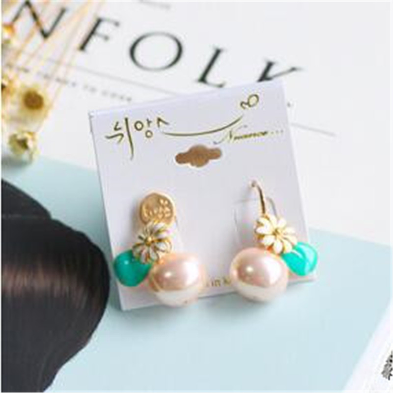 High Quality Korea Sweet Fresh Asymmetry Simulated Pearl Flower Drop Earrings Fashion Jewelry Accessories For Woman LRD5 in Drop Earrings from Jewelry Accessories