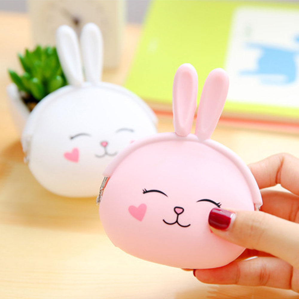 2016 New Fashion Coin Purse Lovely Kawaii Cartoon Rabbit Pouch Women Girls Small Wallet Soft Silicone