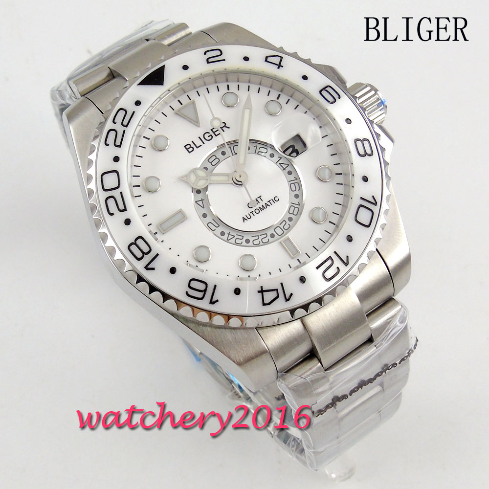 NEW 43mm Bliger white dial ceramic bezel Date adjust GMT luminous hands sapphire glass Automatic Men's Mingzhu Movement Watch цена