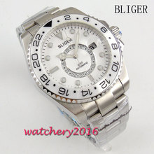 цена NEW 43mm Bliger white dial ceramic bezel Date adjust GMT luminous hands sapphire glass Automatic Men's Mingzhu Movement Watch онлайн в 2017 году