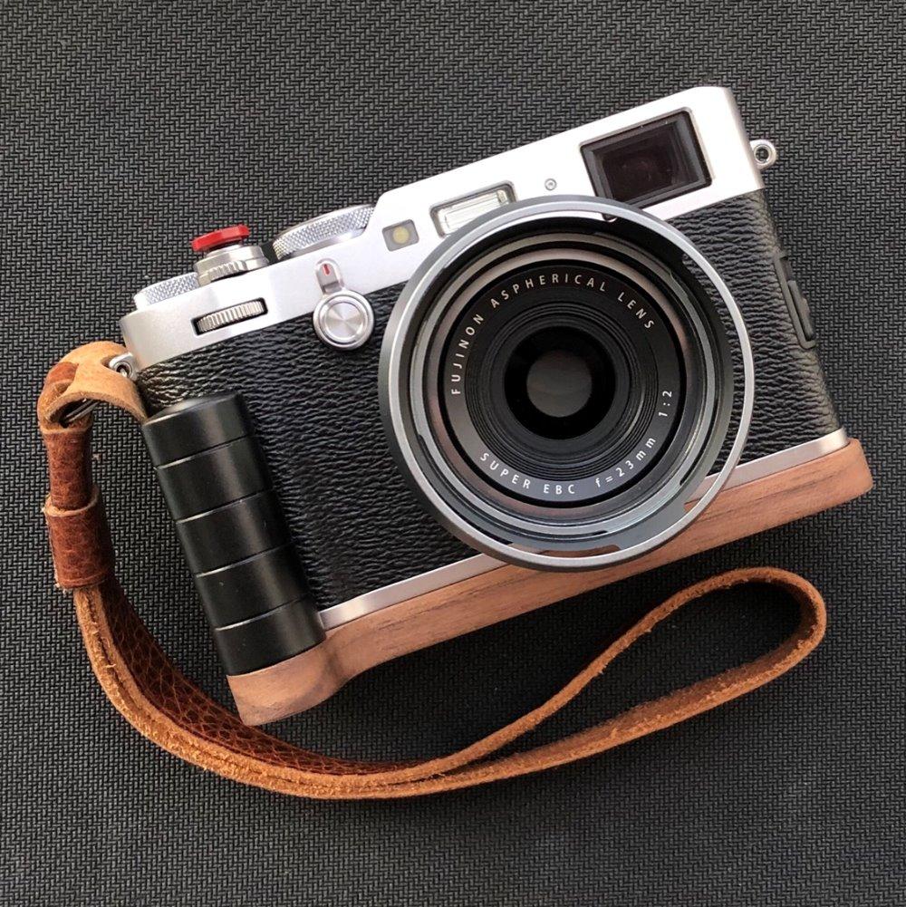 Fuji X100f: Walnut Wooden Wood Hand Grip Plate Bracket With PU60 Quick