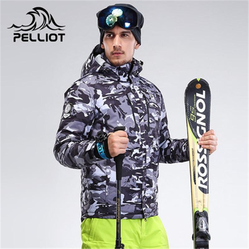 PELLIOT Brand Couple Ski Jacket Men Women Winter Mountain Skiing Jacket Camo Pattern Waterproof Thicken Warm Couple Snow Jackets men letter print camo jacket