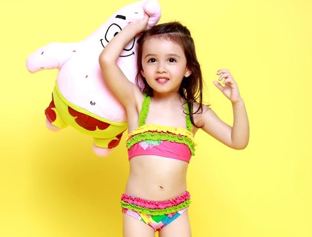 4a534d59b0055 rainbow princess cute toddler frozen bikini children swimwear for girls two  piece swimsuit kids child swimming