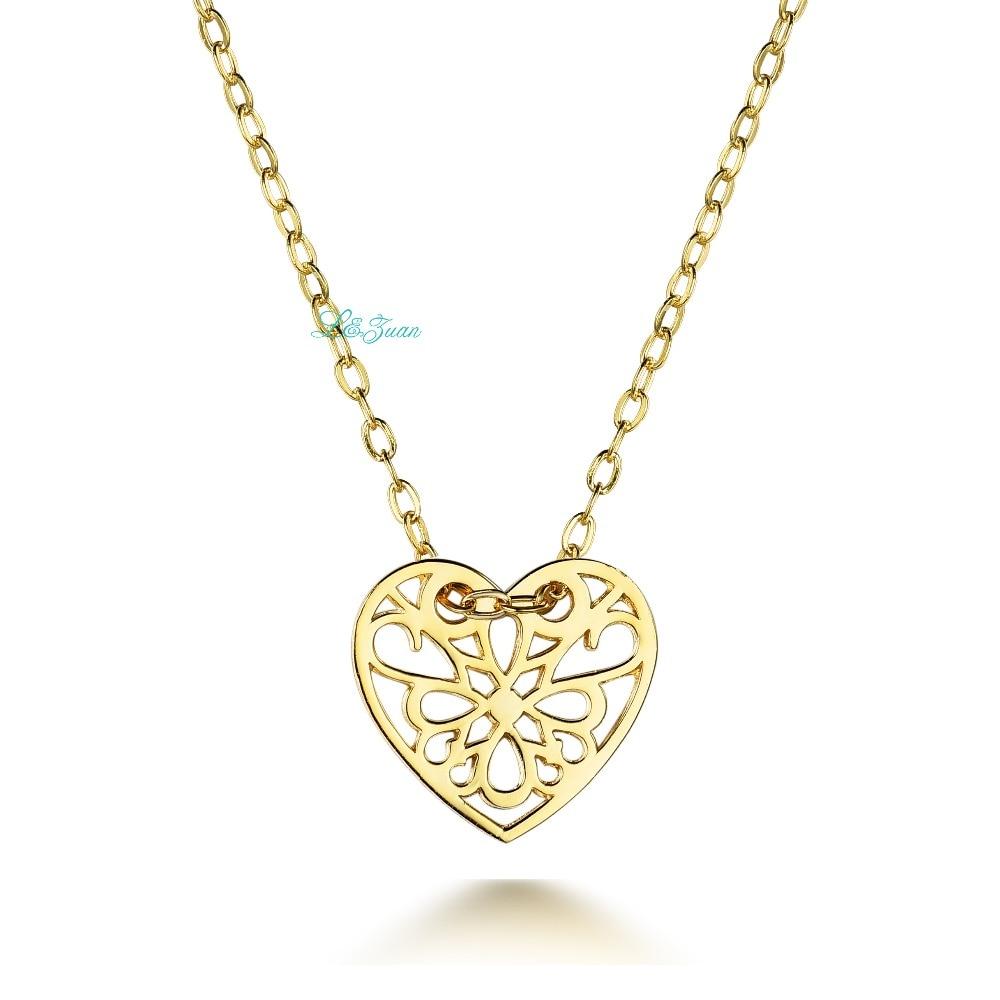 I zuan 925 Sterling Silver Fine Jewelry Plated Yellow Gold Heart Shaped Decorative Pattern Women Pendant