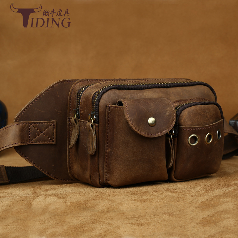 tiding crazy horse leather one shoulder pack cross body travel bag for men women 3141 TIDING Genuine Crazy Horse Leather Men Waist Bag Vintage Style Fanny Pack Travel Small Bag For iPad Mini Cell Phone 2016 New