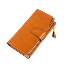 Genuine Cow Leather women Wallet long Coin Purse higt-quality Wallet famous designer Brand Cowhide multiple Cards Holder Clutch