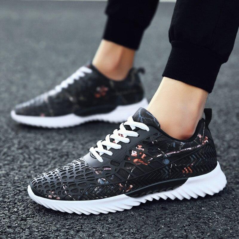 Graffiti maille mode coloré rue Chaussures baskets pour homme respirant lumière en caoutchouc Chaussures Lycra amoureux Chaussures Hommes