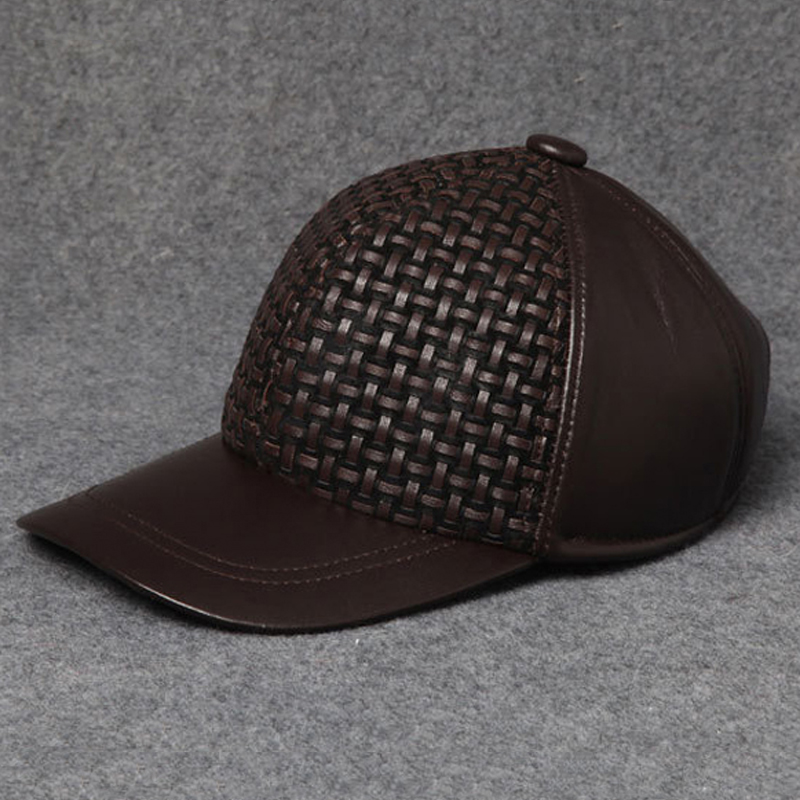 Wholesale Svadilfari 2018 100% Top Quality Cowhide Cap New spring autumn Fashion Leather Hat keep Ears Warm Men Women fashion flat top hat cap for men deep brown