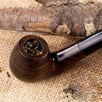 10 Gereedschappen Rokende Conjunto Ebbenhout Pijp Handgemaakte Zwarte Pijp 9mm Filtro Hout Pijp Klassieke Gebogen Pijp