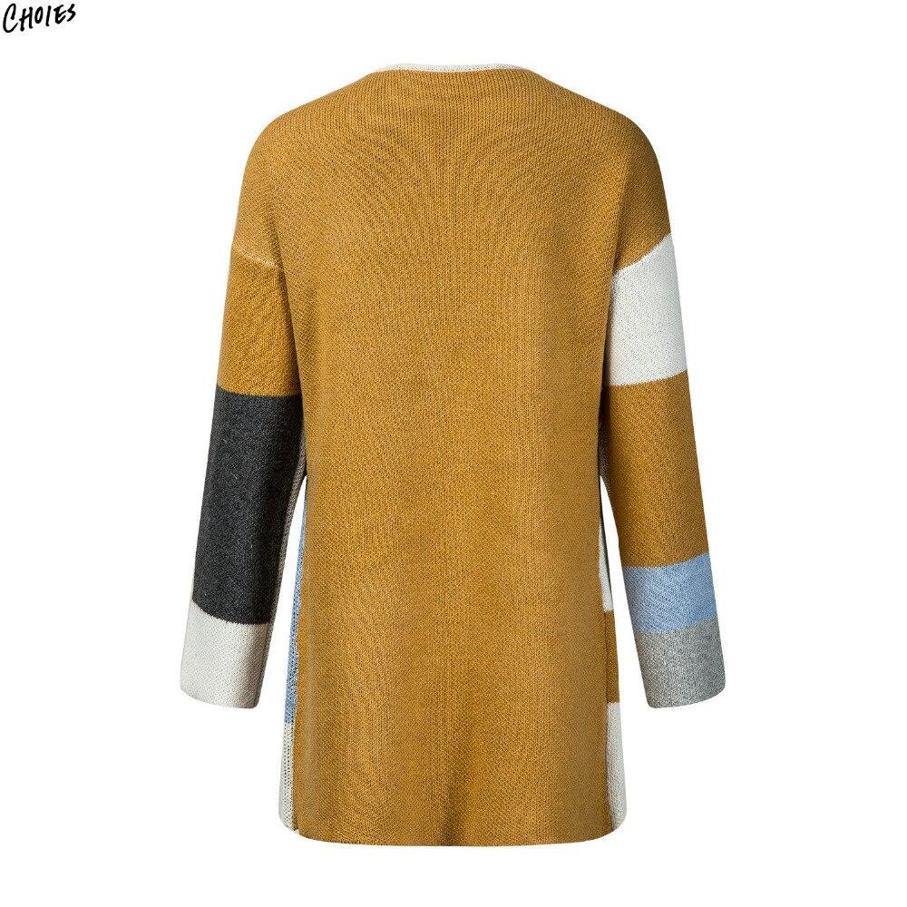 Polychrome Contrast Color Block Longline Cardigan Women Pockets ...