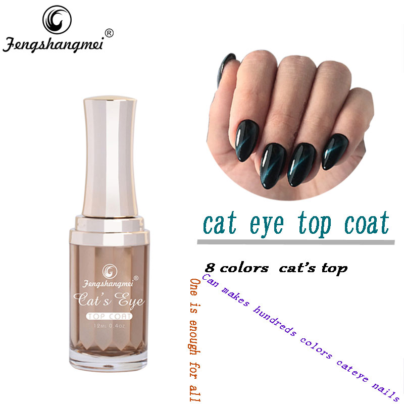 Fengshangmei 12ml Cat Eye Gel Varnish Magnet Nail Lacquer Cat mata Gel Poland Top Coat