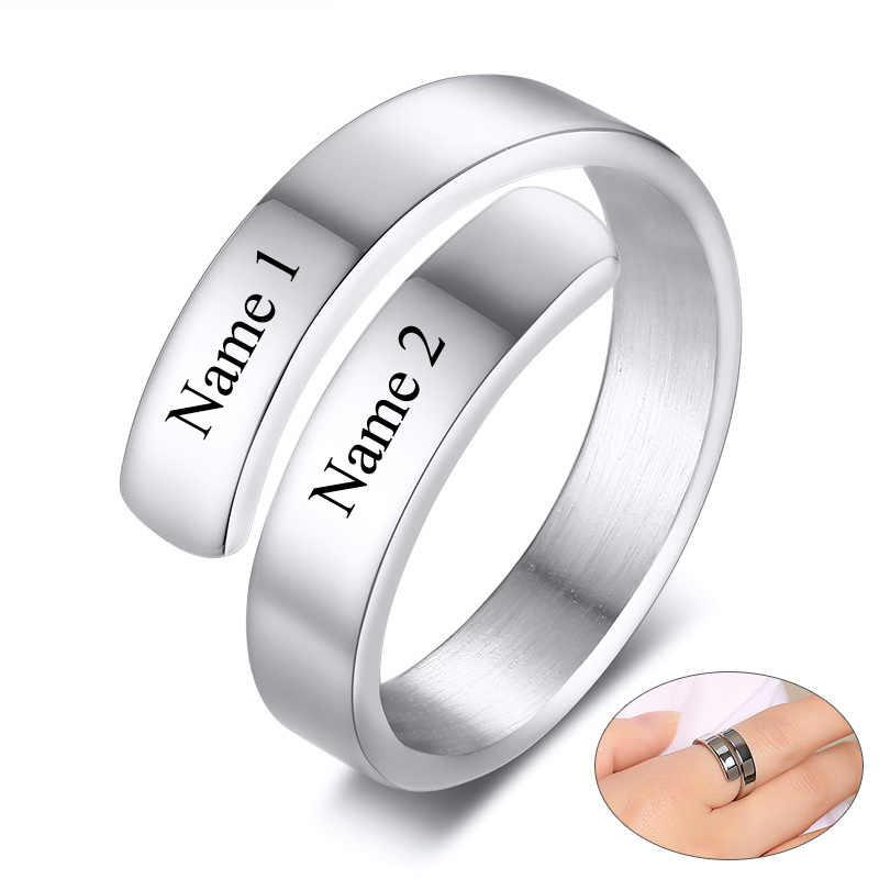 Регулируемое женское кольцо, ювелирное изделие, персонализированное, на заказ, гравировка, кольца для женщин, день рождения, выпускной, подарки для девушек, дочерей