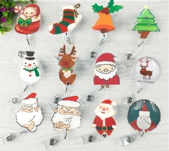 Christmas Holidays Animals Badge Reel Retractable ID Name Card Holder