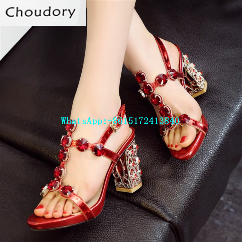 Choudory Platform Buckle Strap Solid Sweet Med Heels Gladiator Fretwork Heels Fashion Shining Diamond Crystal With Shoes Woman
