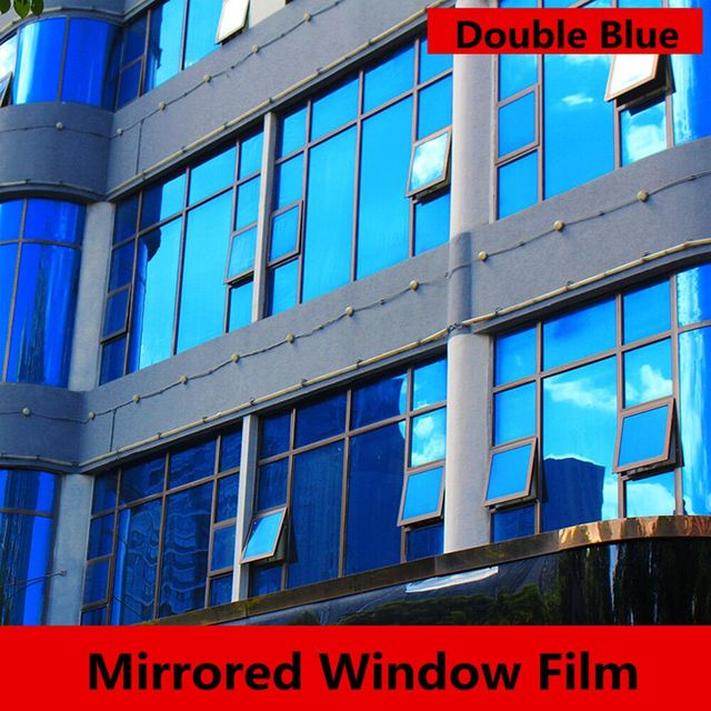 1.52x30m One Way Mirror Privacy Window Films Dark Blue Reflective Side  Blocking Sun Solar Tint Glass Film Self-adhesive Vinyl 81167103d23e